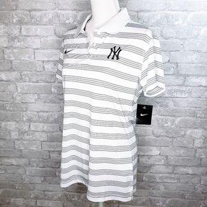 NWT Nike Golf Dri-Fit Gray Striped Yankees Polo-L